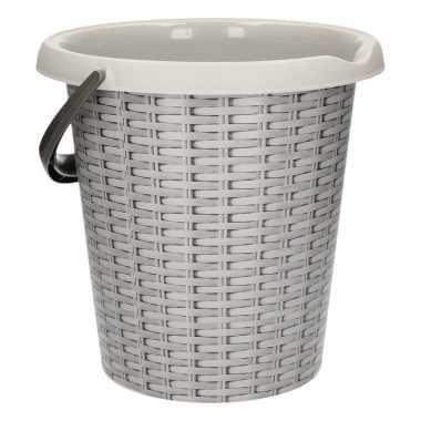 Grijze schoonmaakemmer met rotanprint 12 liter prijs