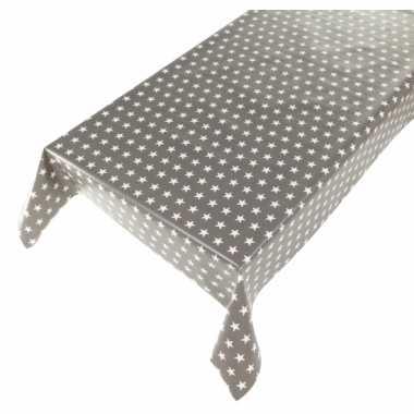 Grijze tafelkleden/tafelzeilen sterrenprint 140 x 240 cm rechthoekig