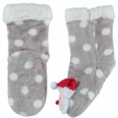Grijze warm gevoerde kerstman kerstsokken voor kinderen prijs