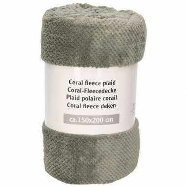 Grijze warme fleece deken/plaid met diamant print 150 x 200 cm prijs