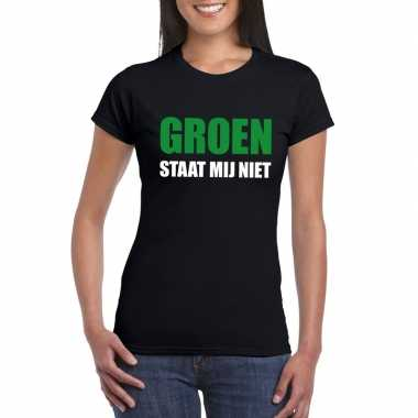 Groen staat mij niet fun t-shirt voor dames zwart prijs
