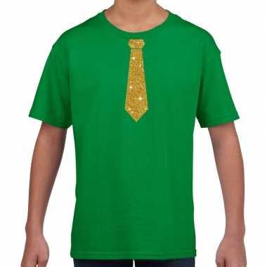 Groen t-shirt met gouden stropdas voor kinderen prijs