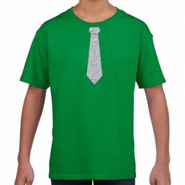 Groen t-shirt met zilveren stropdas voor kinderen prijs