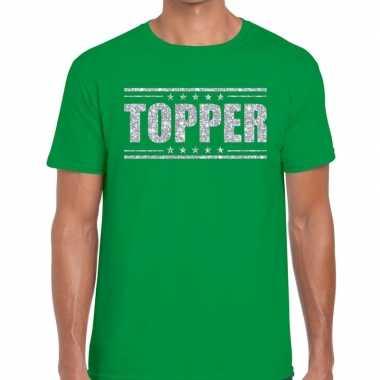 Groen topper shirt in zilveren glitter letters heren prijs