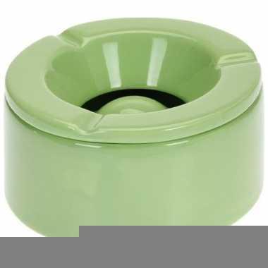 Groene asbak van aardewerk 12 cm prijs