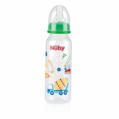 Groene babyfles met voertuigen 240 ml prijs