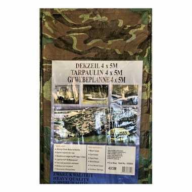 Groene camouflage afdekzeil / dekkleed 4 x 5 m prijs