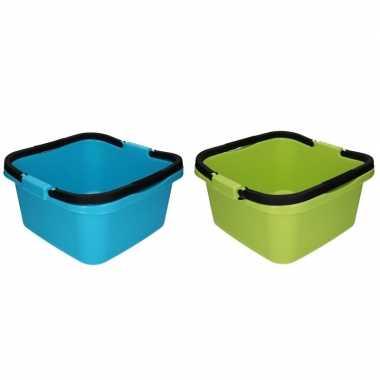 Groene en blauwe afwasteil / emmer met handvat 13 liter prijs