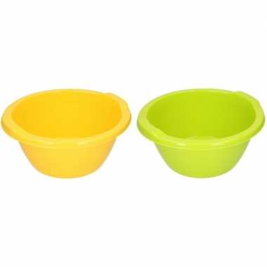 Groene en gele ronde afwasbak 6,5 l prijs