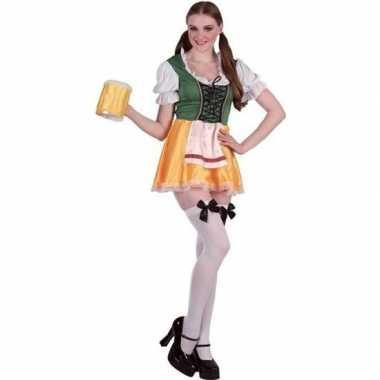 Groene/gele bierfeest/oktoberfest jurkje verkleedkleding voor dames p