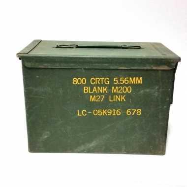 Groene munitiekist van metaal 30 cm prijs