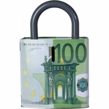 Groene spaarpot 100 euro biljet slotvorm 25 cm prijs