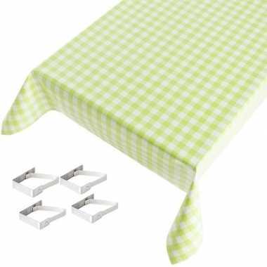 Groene tafelkleden/tafelzeilen ruiten print 140 x 245 cm rechthoekig