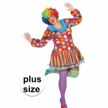 Grote maten carnavalskleding clown voor dames prijs
