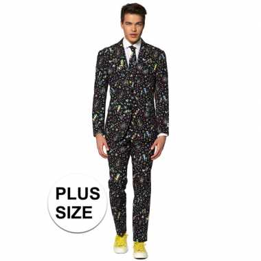 Grote maten heren verkleedkostuum disco dude business suit prijs