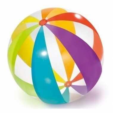 Grote opblaasbare doorzichtige strandbal met kleuren 82 cm waterspeel