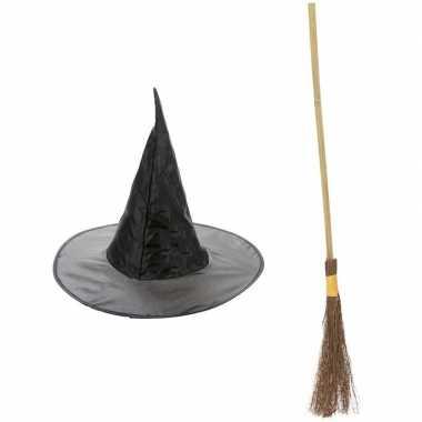 Halloween feest/party heks verkleedaccessoires heksenhoed en bezem 10