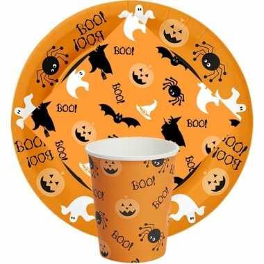 Halloween feest/party wegwerp servies oranje met print prijs
