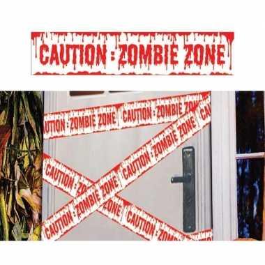 Halloween thema plastic afzetlint caution zombie zone 600 cm prijs