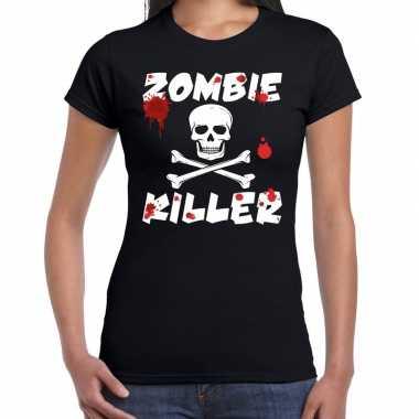 Halloween zombie killer shirt zwart dames met zombie killer bedrukkin