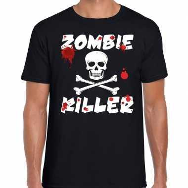 Halloween zombie killer shirt zwart heren met zombie killer bedrukkin