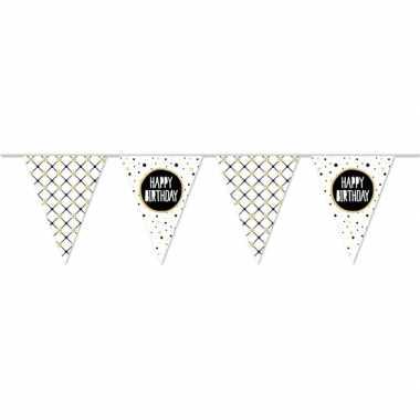 Happy birthday metallic feest versiering vlaggenlijn 10 meter prijs