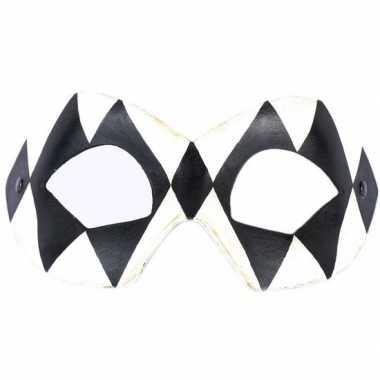 Harlekijn oogmasker zwart/wit voor volwassenen prijs