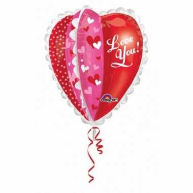 Hartjes folie ballon love you 76 cm prijs
