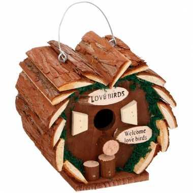 Hartvormig houten vogelhuisje 16 cm prijs