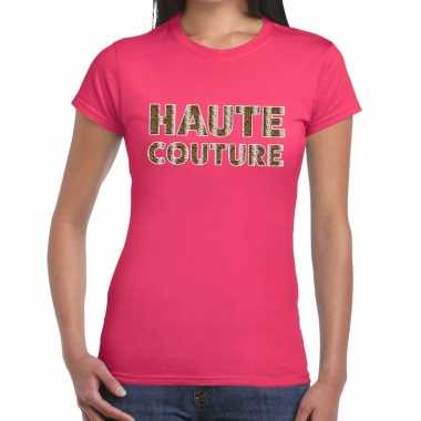 Haute couture slangen print fun t-shirt roze voor dames prijs