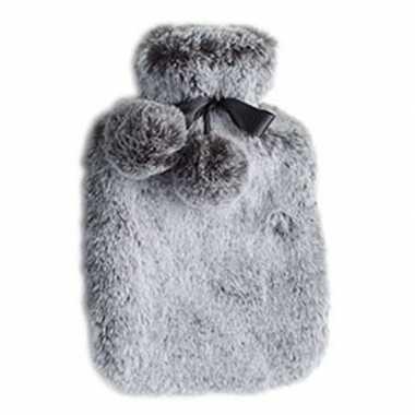 Heet water kruik met pluche hoes 2 liter zilver grijs prijs