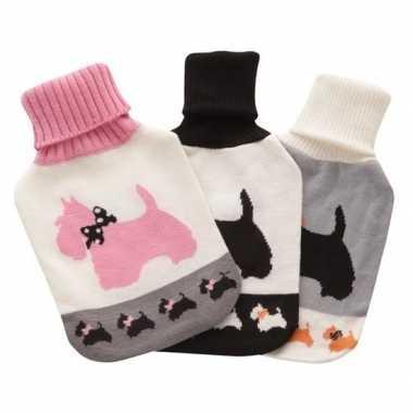 Heet water kruik metwit/roze honden hoes 2 liter prijs