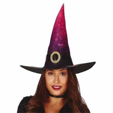 Heksen verkleed hoed zwart/roze voor dames prijs