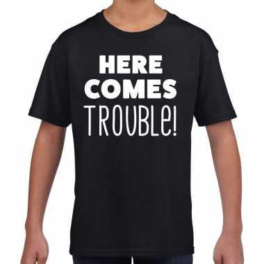Here comes trouble fun t-shirt zwart voor kids prijs