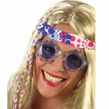 Hippie feestbril met blauwe glazen voor volwassenen prijs