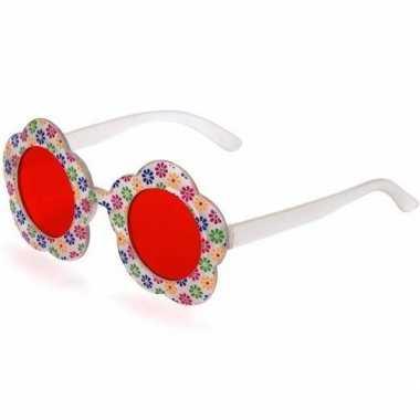 Hippie feestbril met rode glazen voor volwassenen prijs