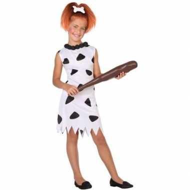 Holbewoonster wilma kostuum voor meisjes wit/zwart prijs