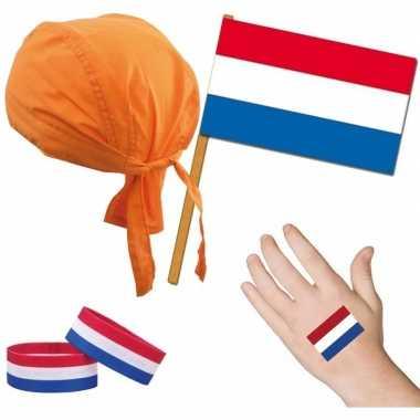 Hollandse fan/supporter verkleed set voor volwassenen prijs