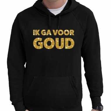 Hooded sweater zwart ik ga voor goud glitter bedrukking voor heren pr