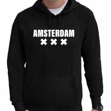 Hooded sweater zwart met amsterdam bedrukking voor heren prijs