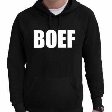 Hooded sweater zwart met boef bedrukking voor heren prijs