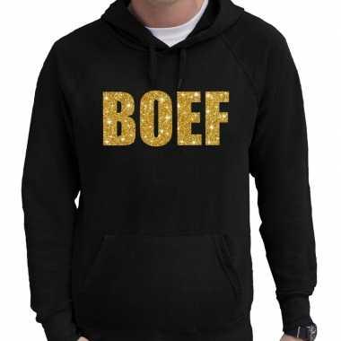 Hooded sweater zwart met goud boef glitter bedrukking voor heren prij