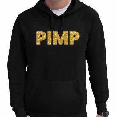 Hooded sweater zwart met goud pimp glitter bedrukking voor heren prij
