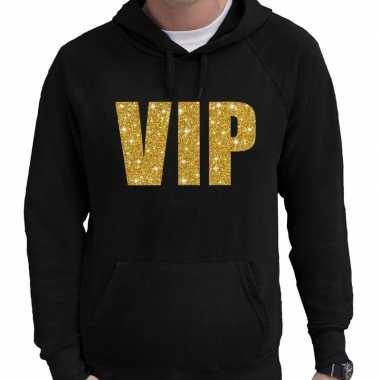 Hooded sweater zwart met goud vip glitter bedrukking voor heren prijs