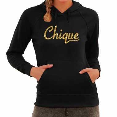 Hooded sweater zwart met gouden chique bedrukking voor dames prijs