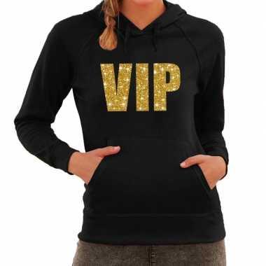 Hooded sweater zwart met gouden vip bedrukking voor dames prijs
