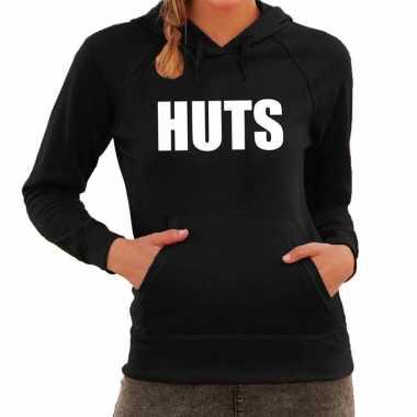 Hooded sweater zwart met huts bedrukking voor dames prijs