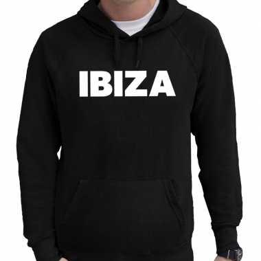 Hooded sweater zwart met ibiza bedrukking voor heren prijs