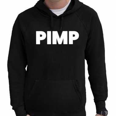 Hooded sweater zwart met pimp bedrukking voor heren prijs