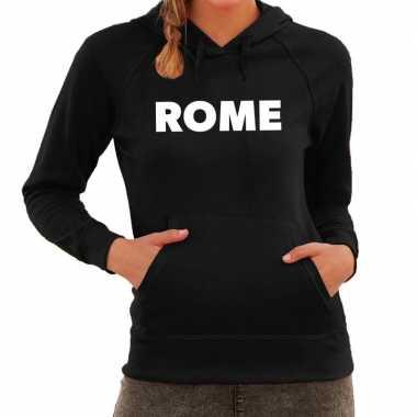 Hooded sweater zwart met rome bedrukking voor dames prijs